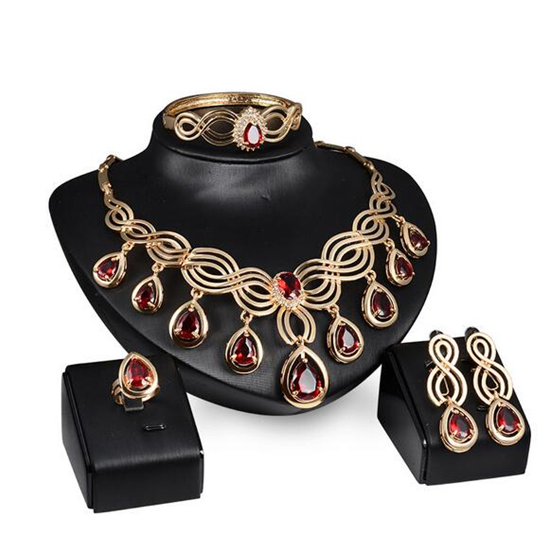 Jewelry-Sets Wedding African Gold-Color Women Crystal for Red