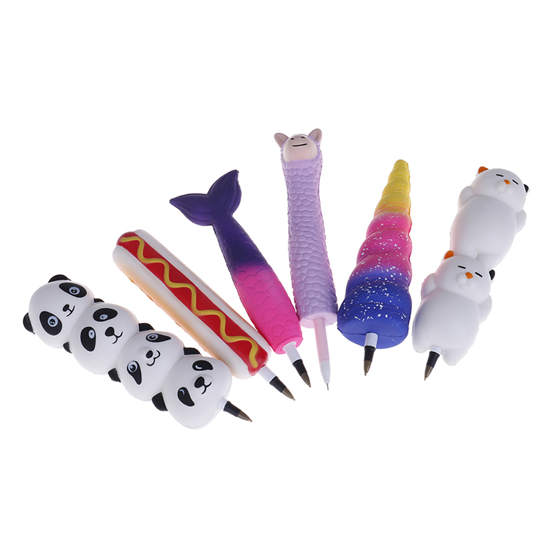 Squishy Unicorn Cat Ice Cream Panda Bun Pen Cap Stationery Pencil Holder Toppers Slow Rising Squeeze Children's Day Gift Toy
