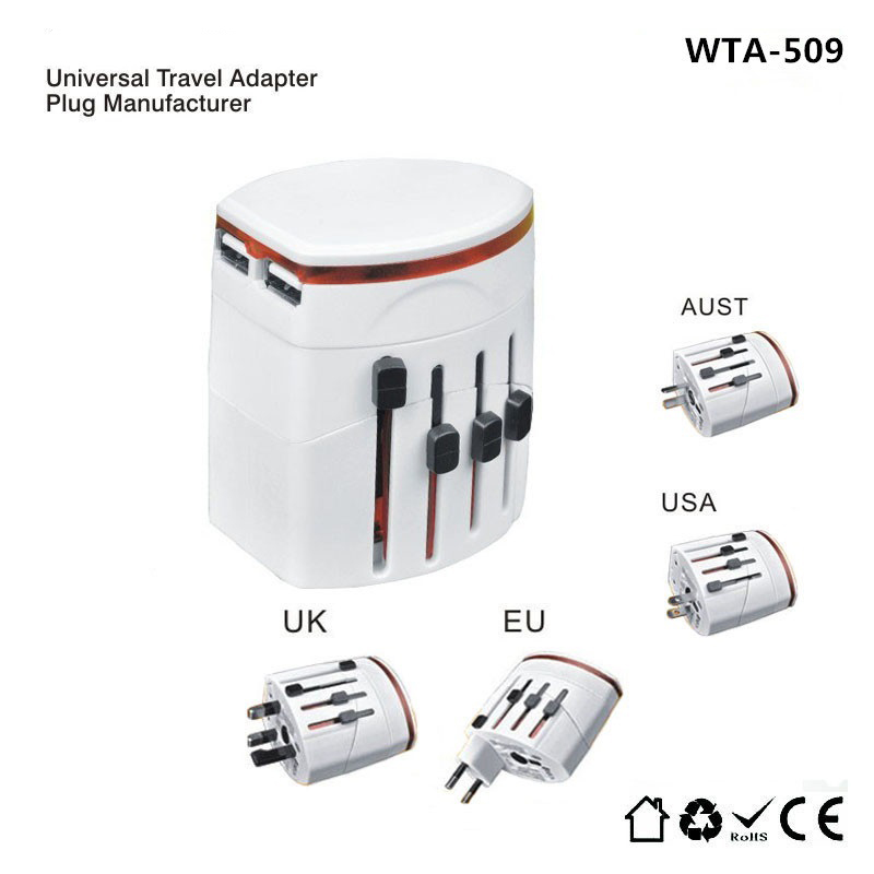 Convinien All in One Universal International Travel Plug Adapter 2 USB Port AC Power Charger Adaptor with AU US UK EU Plug