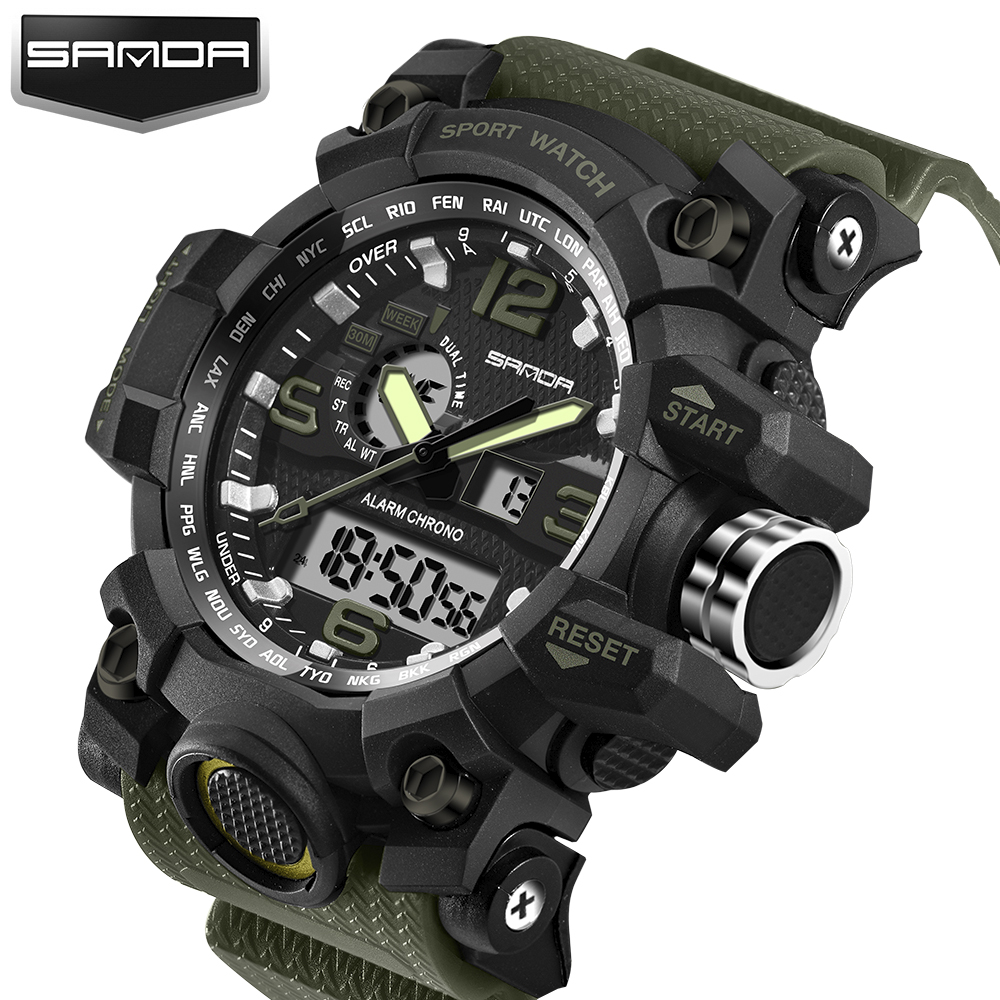 2017 New Shock Men Sports Watch Military Army Analog Digital LED Electronic Quartz Wristwatches 50M Waterproof relogio masculino 2017 new men digital sports military watch electronic dual time zone waterproof army watch relogio masculino relogio militar