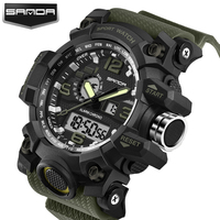 2017 New Shock Men Sports Watch Military Army Analog Digital LED Electronic Quartz Wristwatches 50M Waterproof