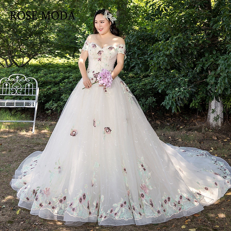 US $210.14 21% OFF|Rose Moda Lace Plus Size Wedding Dress 2019 Off Shoulder  Short Sleeves Plus Size Wedding Gowns-in Wedding Dresses from Weddings & ...
