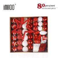 inhoo 80pcs/set 2019 New Year Christmas Tree Ball Wedding Decor Gifts Polystyrene Balls Xmas Party Snowflake Hanging Ornament