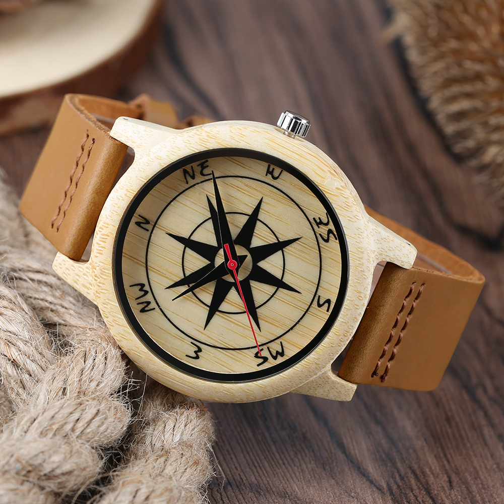 High Quality Sandalwood Watch Compass Dail For Men And Women Quartz Analog Casual Watch Genuine Leather Band As Gifts Item