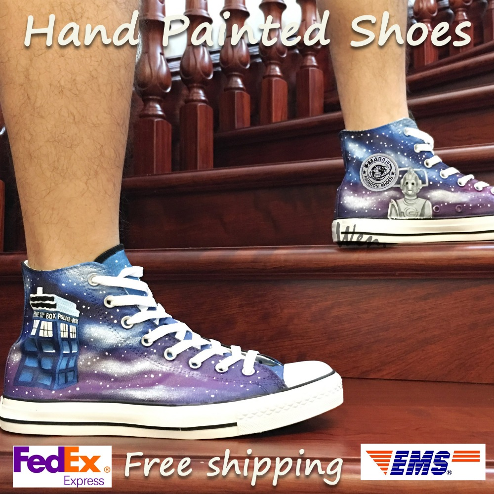 Wen Design Custom Hand Painted Sneakers Doctor Who Dalek Weeping Angel Little Tardis High Top Men Womens Canvas ShoesWen Design Custom Hand Painted Sneakers Doctor Who Dalek Weeping Angel Little Tardis High Top Men Womens Canvas Shoes