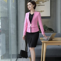 Novelty Pink Elegant Slim Blazers With Jackets And Dress For Women Business Work Wear Blazer Outfits
