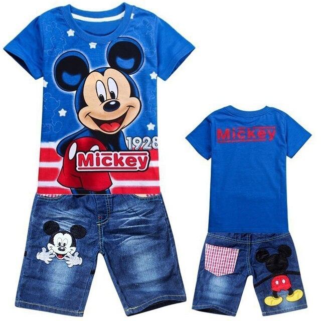 ילדי בגדי בני קריקטורה מכנסיים ספורט חליפת תינוק ילדי שרוול קצר T חולצת ג 'ינס בגדי סטים