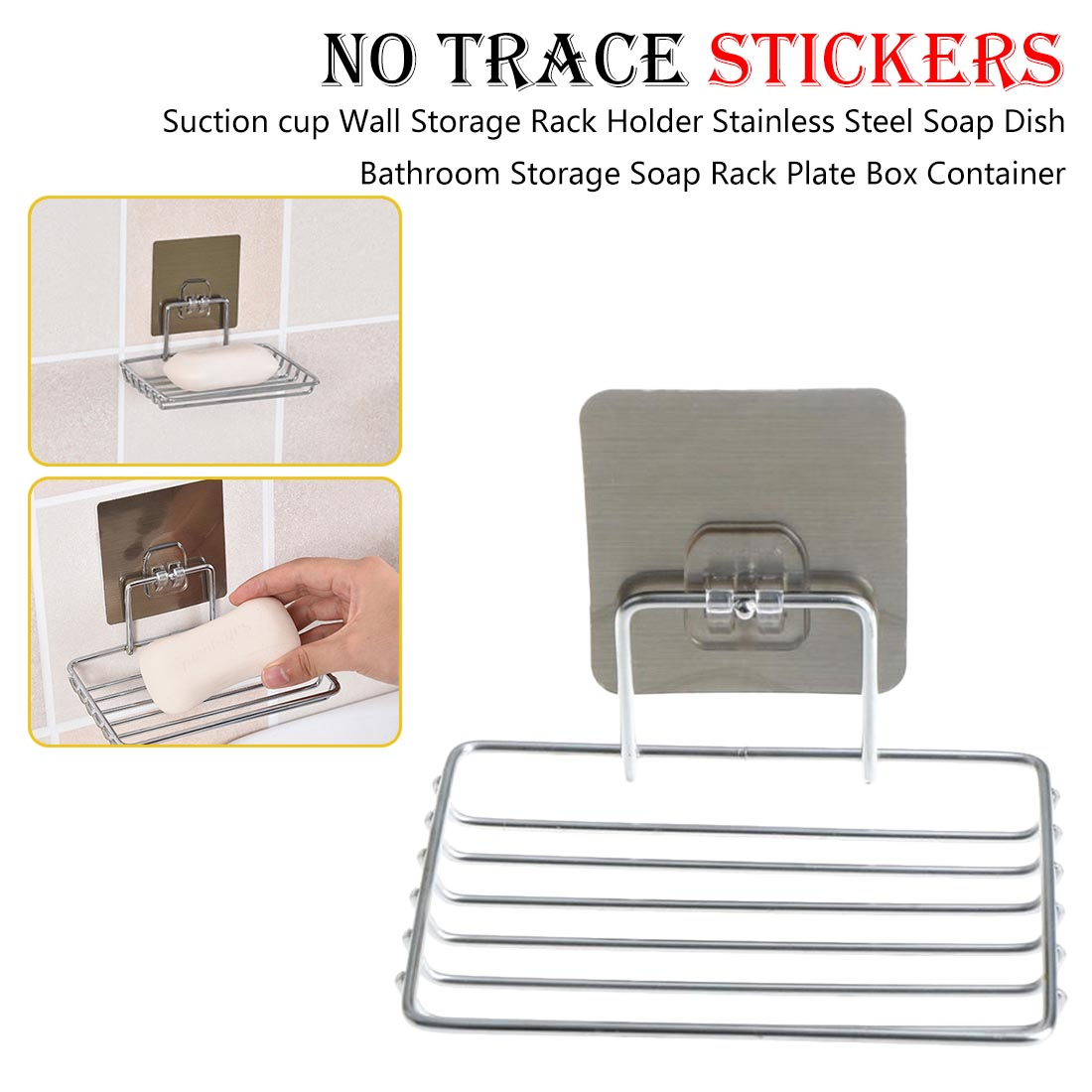 Suction cup Wall Storage Rack Holder Stainless Steel Soap Dish Bathroom Storage Soap Rack Plate Box Container(China)