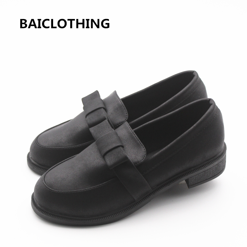 BAICLOTHING women casual black pu leather flat shoes female leisure spring & summer slip on flats zapatos de mujuer female shoes soft pu leather red flat shoes 2018 spring zapatos mujer women flats shoes casual superstar ladies home slip on shoes for women