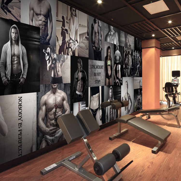 Huge Home Gym With Red Walls Home Gym Ideas: Custom 3D Boxing Gym Wallpaper Modern Minimalist