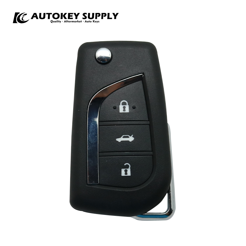AUTOKEY SUPPLY factory direct sales for Toyota Corolla Modified 3 button remote Flip key 433Mhz 2007