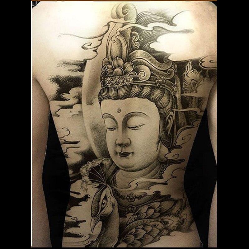Temporary Tattoo Buddhism Black Fake Tattoos Super Large