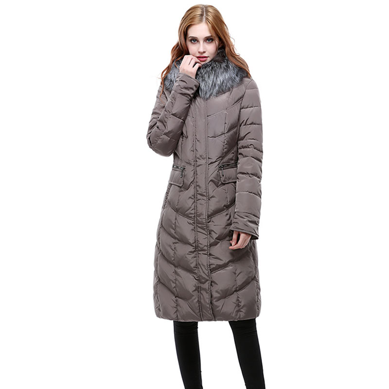 Winter Down Jacket For Women For Europe And Russia Minus 40 Warm Thick Coat Really Silver Fox Fur Collar Long Design 48-58 Q706a Meticulous Dyeing Processes Jackets & Coats