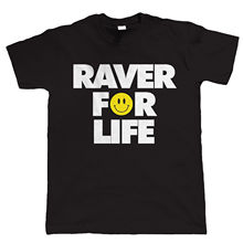 Raver For Life, Old Skool Rave DJ Mens Festival T Shirt Fashion Classic Unique gift Fashion Classic Unique gift цена и фото