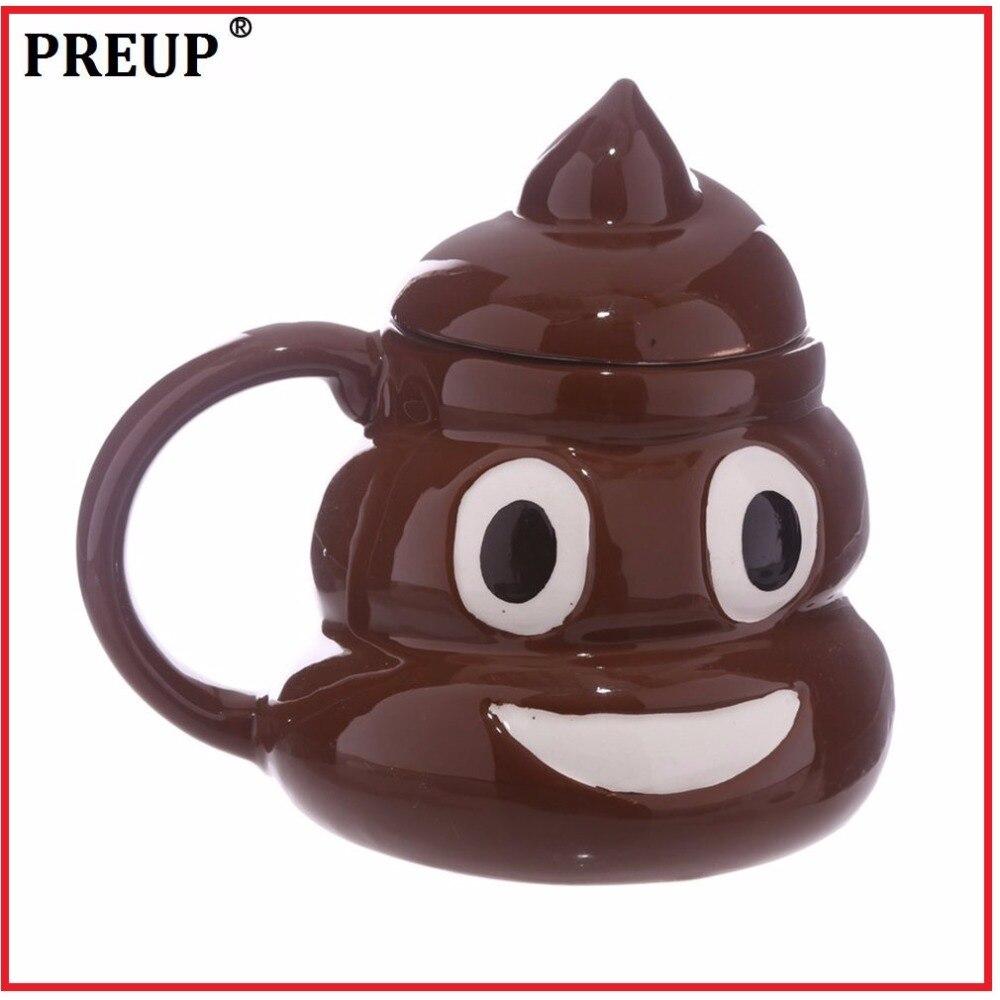 PREUP 3D Funny Emoji Mug Special Ceramic Coffee Cup Kawaii Tea Cup Porcelain Cup Novelty Milk Mug Friends Family Gifts