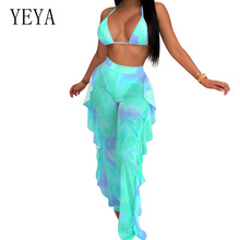 YEYA Women Two Piece Set Print Jumpsuits Sexy See-Through Mesh Ruffles Bodysuits Spaghetti Strap V Neck Rompers Beach Overalls