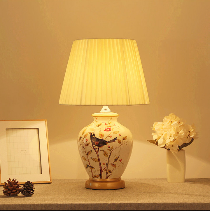 Chinese style white bird ceramic art Table Lamps Fashion classical fabric E27 LED lamp for bedside&foyer&studio&tea room MF003 c pe097 super chinese green food puer tea fuding white tea cake 350g sessile silver needle natural herbal white peony bag