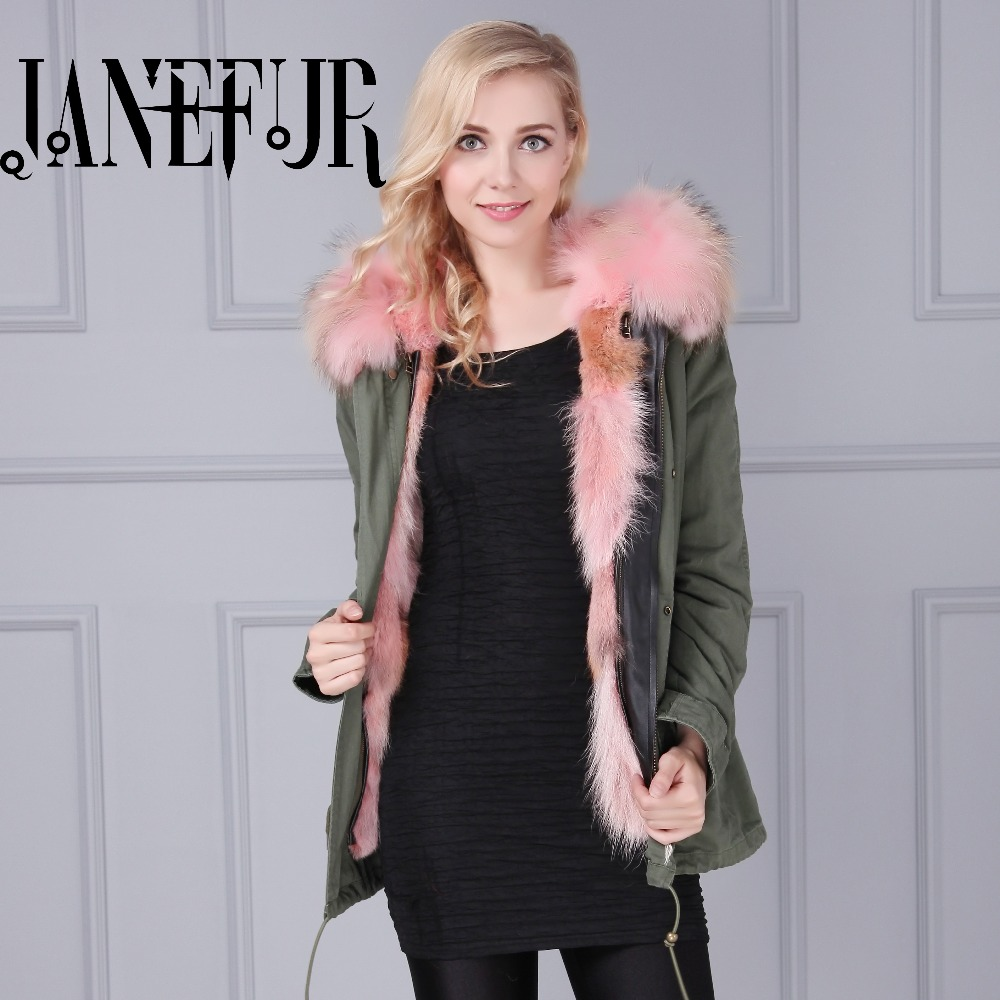 Women Winter Coat Jacket Raccoon Large Fur Collar Army Green Casual Overcoat Flare Sleeve Cloak Cotton-padded Outerwear 2017 winter new clothes to overcome the coat of women in the long reed rabbit hair fur fur coat fox raccoon fur collar