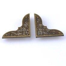 20 шт бронзовые металлические угловые альбомные меню папки Угловые протекторы для коробки для декора золотое украшение 30x30x3,5 мм CP1582