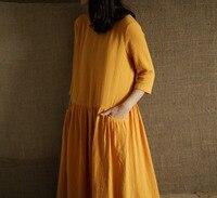 2019 Spring Summer women Comfortable and soft Three Quarter Sleeve dress,cotton linen dress,plus size clothing tops S 5XL 6XL