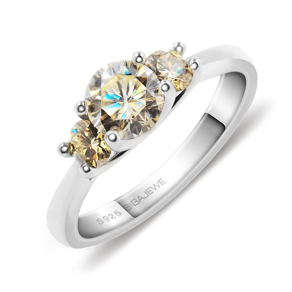 GIGAJEWE Moissanite 1ct 5 5mm 2X3 5mm Round Cut Yellow Color 925 Silver Ring Gold Multi