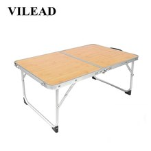 VILEAD Portable Folding Picnic Table Aluminum Ultralight Waterproof Foldable Hiking Camping Self Driving Travel 61*42*27 cm