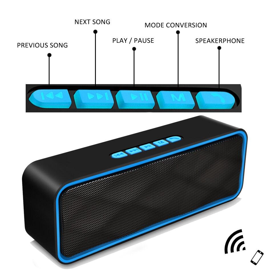 LIGE Coluna Altifalante Bluetooth Speaker Portátil Bluetooth com Microfone Modelo Caixa de Música Apoio TF AUX Rádio FM para Smartphone PC
