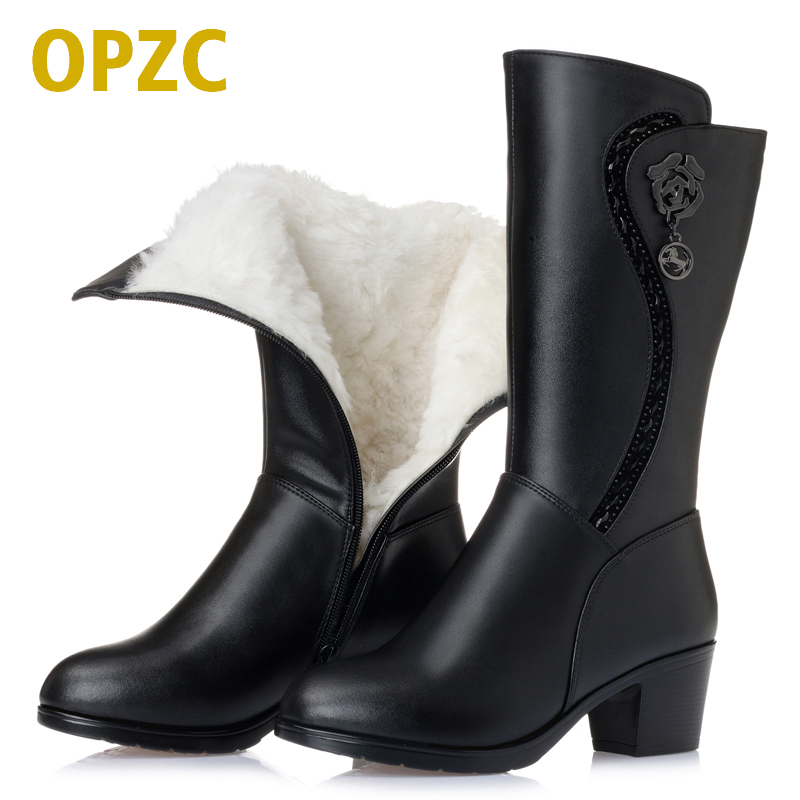 OPZC 2018 new genuine leather women's wool boots thick warm winter snow boots large size 41 42 43 motorcycle boots women 2017 new women s genuine leather boots motorcycle boots rough with in tube high heeled boots thick wool really pima ding