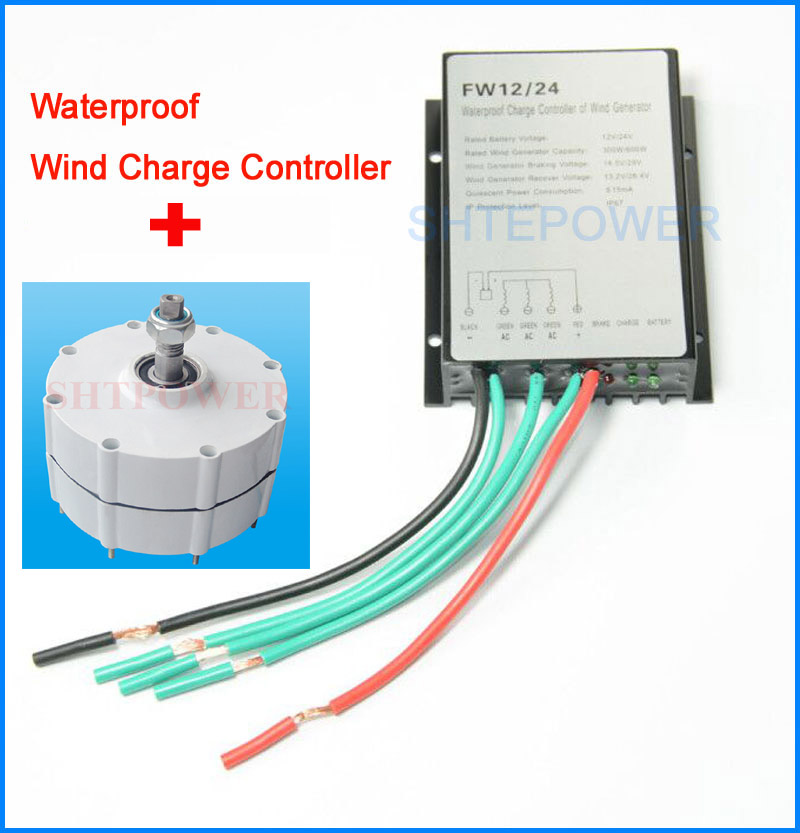24V wind controller waterproof with 600W wind turbines generator Three Phase AC permanent magnet generator ac 24v wind turbines system diy 500r m generator ac 24v with 24v small waterproof ip67 wind controller 1000w 1kw