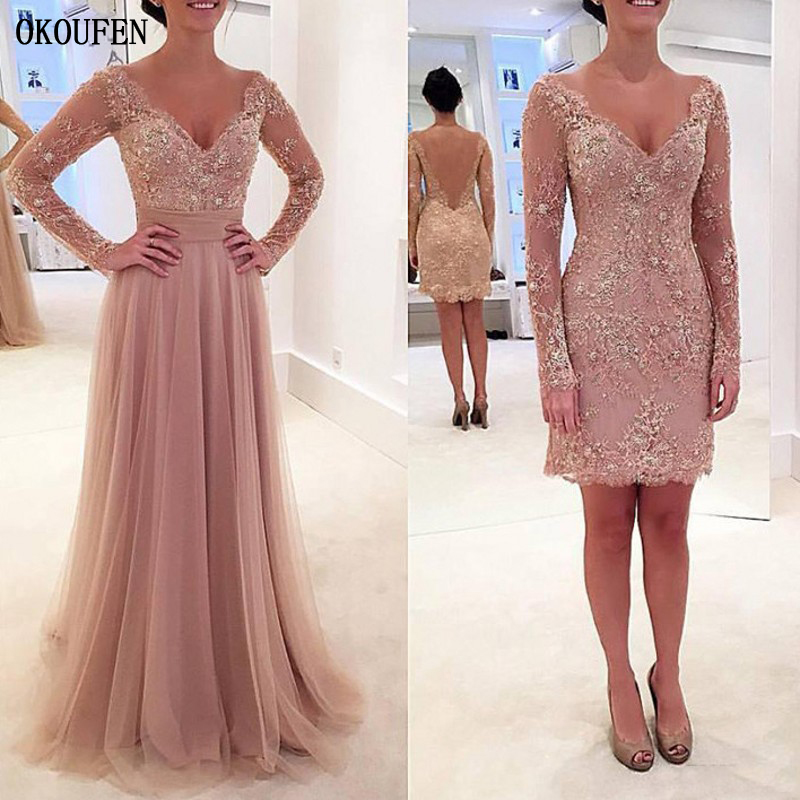 <font><b>Mother</b></font> Of The Bride Dresses Formal Wedding Party Gowns 2019 Long Sleeve V-Neck Removable Dusty Pink vestido de madrinha farsali image