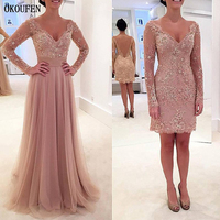 Mother Of The Bride Dresses Formal Wedding Party Gowns 2019 Long Sleeve V Neck Removable Dusty Pink vestido de madrinha farsali