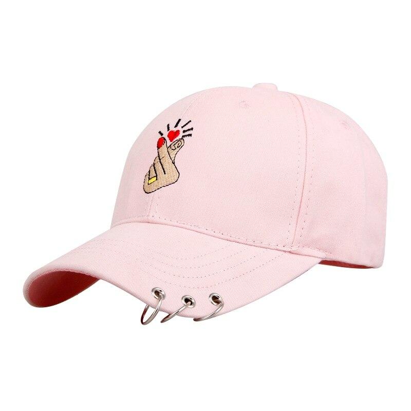 Горячая Кепки Для женщин модное кольцо на палец вышивка металлическое кольцо Бейсбол Кепки регулируемая бейсболка дышащая Пеший Туризм Шапки Snapback H8 - Цвет: Розовый