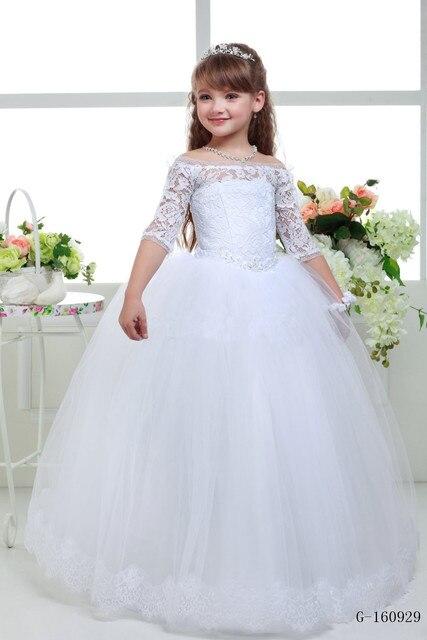 d0d4a4802f Biały kwiat dziewczyna sukienki na wesela Koronki Glitz Pageant Sukienki  dla Dziewczynek pierwsza komunia sukienki dzieci
