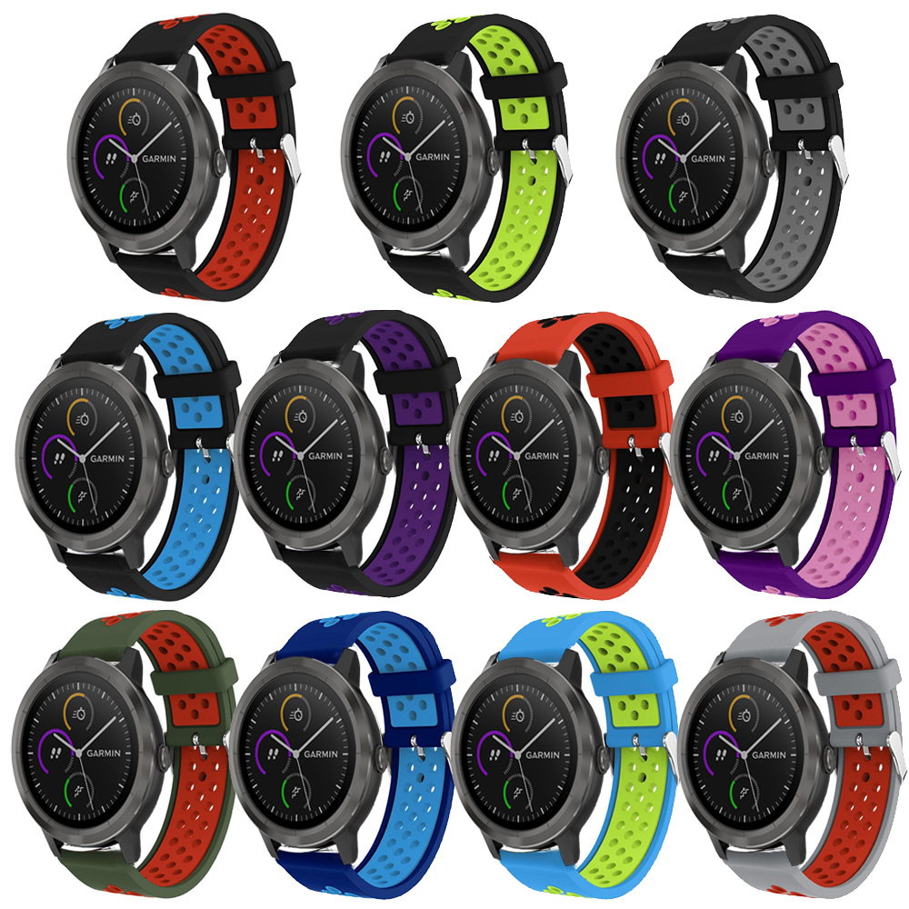 Colorful Replacement Sport Silicone Band Strap for Garmin Vivoactive 3 Smart Watch band bracelet Buckle wrist band 20mm strap цена