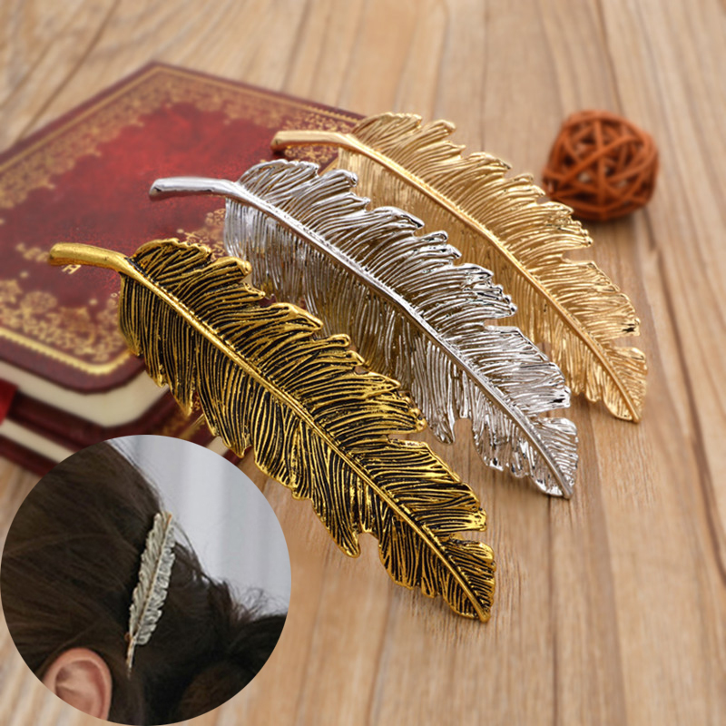 2017 Sale Korean Style Women Chic Leaf Golden Yellow Silvery Hair Clip Vintage Barrette Hairpin Headwear