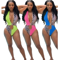 Leopard Printed Bodycon Bodysuit Halter Cut Out Bandage Jumpsuits For Women Shorts Backless Beach Style Summer 2019 Patchwork