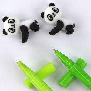 Image 3 - 32 개/몫 kawaii 팬더 젤 펜 귀여운 동물 대나무 검정 잉크 서명 펜 쓰기 편지지 학교 사무 용품 escolar