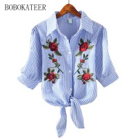 BOBOKATEER Blusas Feminina Ver O 2017 Plus Size Solid Striped Embroidery Shirt Summer Loose Short Sleeve