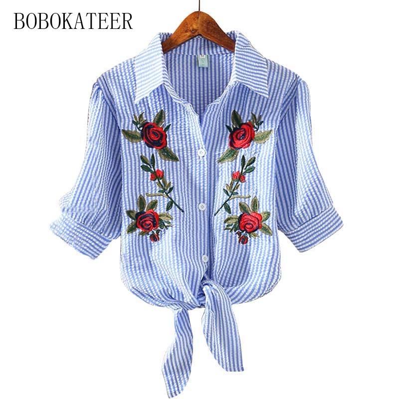 BOBOKATEER embroidery blouse shirt women tops blusas mujer de moda 2017 chemise femme plus size short blouses camisas femininas