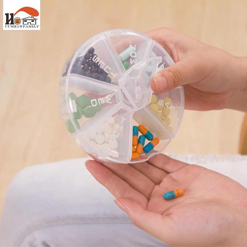 علبة حفظ حبوب الدواء والفيتامينات القابلة للدوران لمدة أسبوع مكون من 7 فتحات