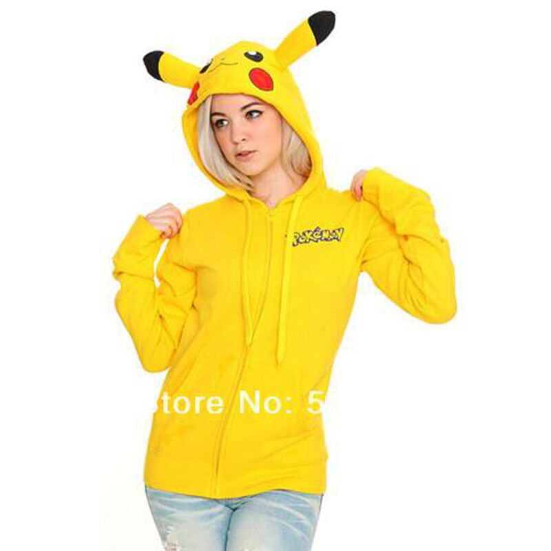 Plus Size Pikachu Pokemon KigurumI Hoodies Cosplay Japanese Costume Animal Hooded with Ear Couple Cotton Yellow Coat Women