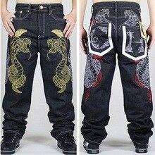 Американский стиль марка мужские мешковатые джинсы свободно плюс большой размер джинсы мужчины хип-хоп джинсы длинные скейтборд жан шаровары