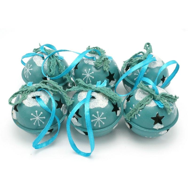 Božična dekoracija 6 kosov modra kovinska sijoča Jingle Bells 50 mm za dom, praznično božično darilo okraski za božično drevo