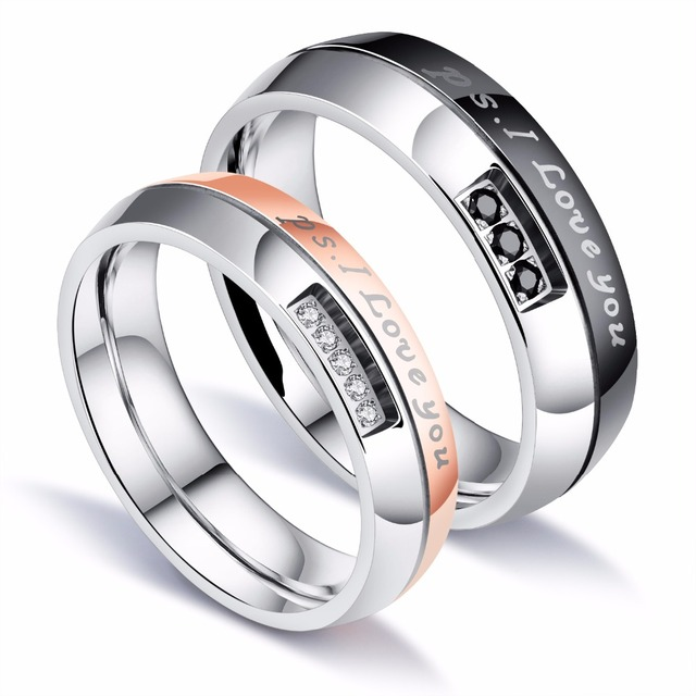 Free Custom Engraving I Love You Wedding Rings S Two Tone Crystal Engagement In Stainless