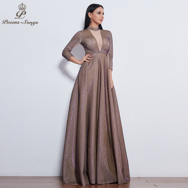 Poems Songs 2019 New style reflective dress beautiful colorful Long sleeve Evening Dress prom gowns  Formal Party dress 1