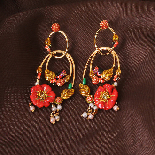 New Product Enamel Glaze Gules Flower Birdie Circle Pearl Earrings Eardrop Auricular Needling L*s Emotional Appeal Sweet