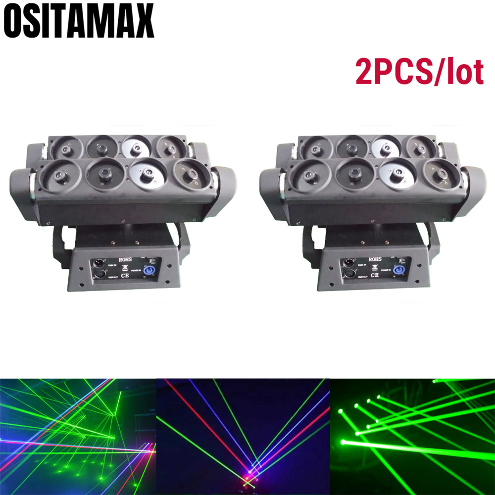 2/lot 8 Eyes Super Beam Moving Head Light Spider Laser Effect RGB LED Lamp DJ Stage Decoration Laser Projector