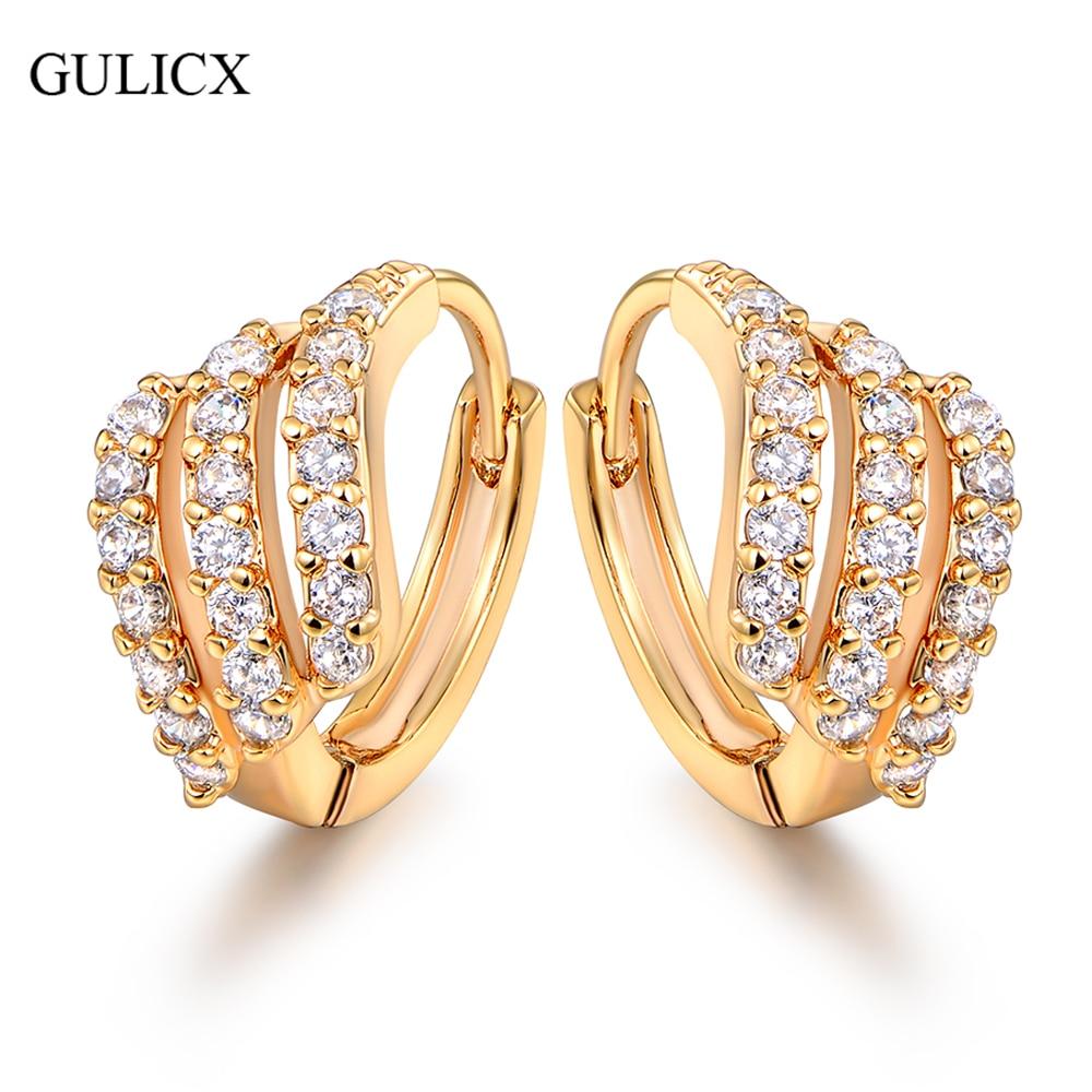 GULICX أزياء سيدة القرط الذهب اللون هوب أقراط مجوهرات فاخرة جولة كريستال مكعب الزركون مجوهرات الزفاف E156