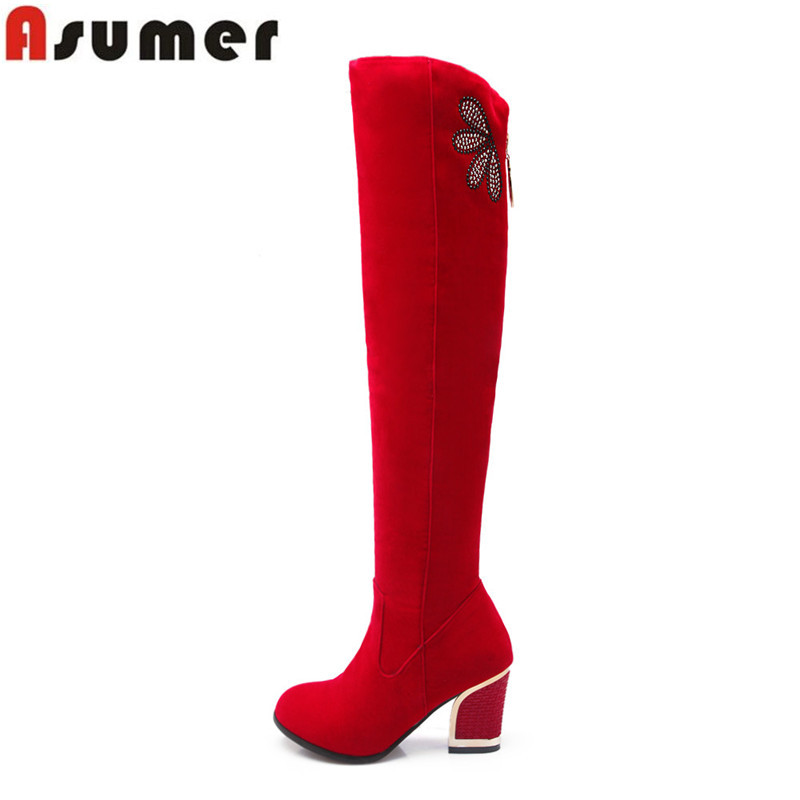 Autumn winter keep warm nubuck leather high heel over the knee boots rivets red black lo ...