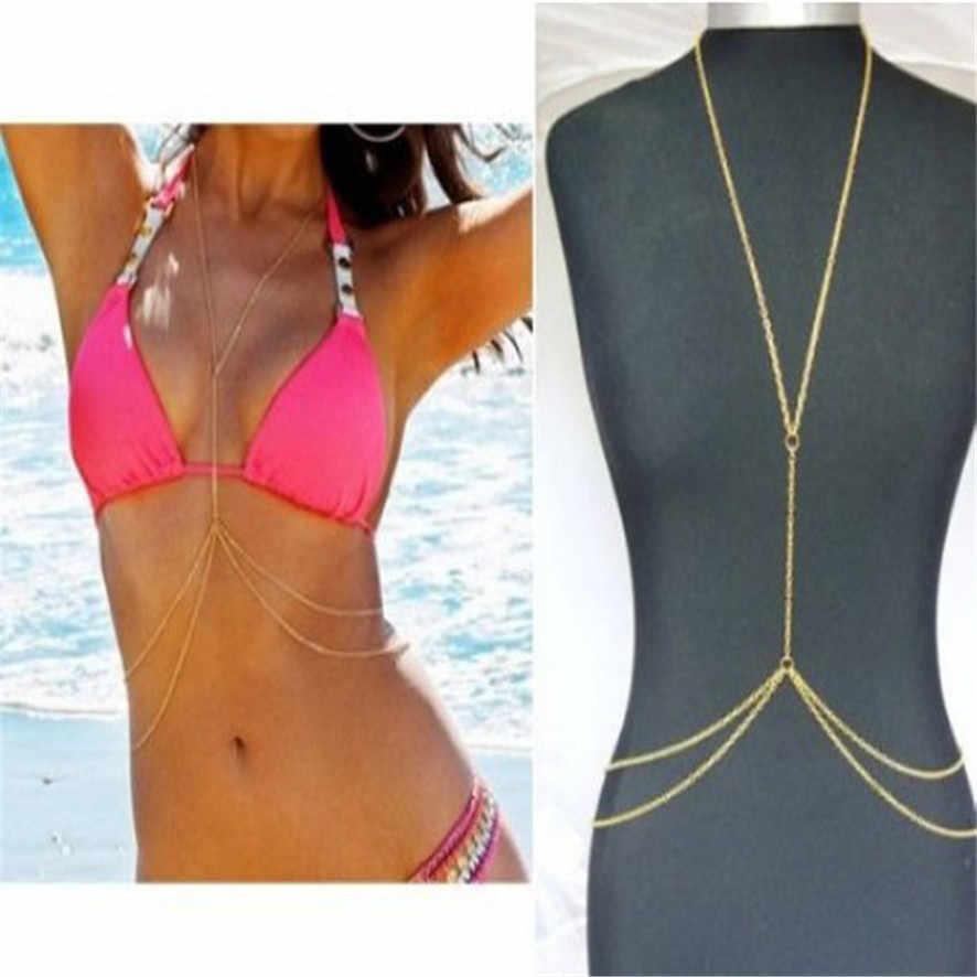 Najlepsza cena Bikini plaża Crossover uprząż naszyjnik pas biodrowy brzuch Unibody łańcuch nadwozia/Belly Chain złoto 282510 ##418